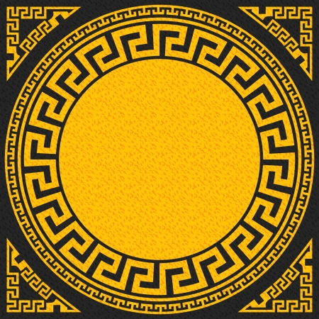 eb3e2641f538 vector set Traditional vintage golden square and round Greek ornament  Meander on a black background