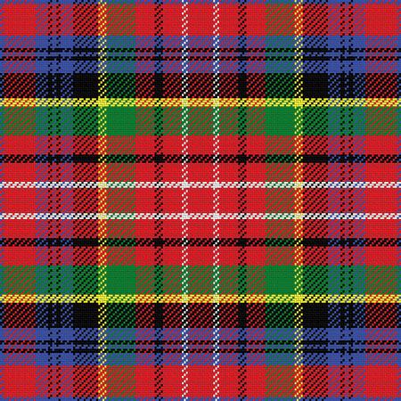 vector seamless pattern Caledonia Scottish tartan, black, white, blue; yellow, green; red