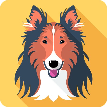 Vector smiling dog Rough collie red and black icon flat design