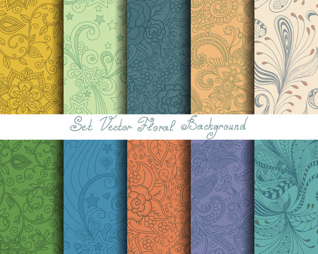 Illustration pour Set seamless cute pastel floral pattern, endless texture for wallpaper or scrap booking - image libre de droit
