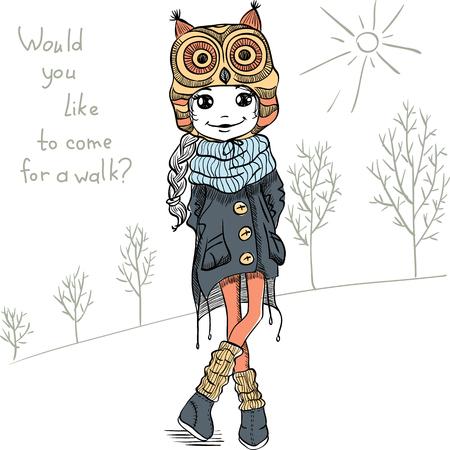 Ilustración de Vector Cute beautiful fashionable girl in a funny hat with an owl - Imagen libre de derechos