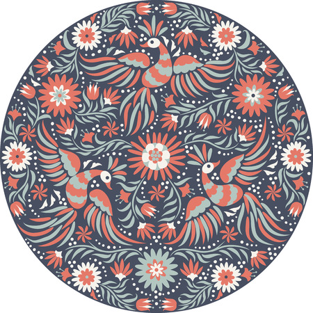 Mexican embroidery round pattern. Red and back ornate ethnic pattern. Birds and flowers dark background. Floral background with bright ethnic ornament.