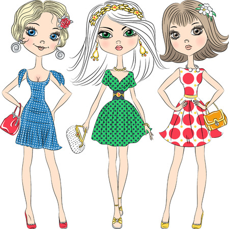 Illustration pour Set beautiful fashion girls top model in elegant dresses with polka dot pattern and with clutches - image libre de droit