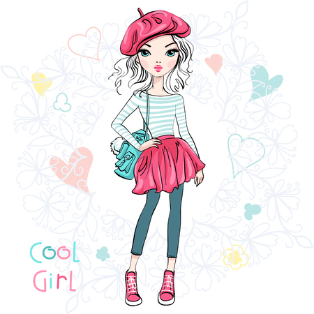 Illustration pour Cute beautiful girl in a summer skirt and blouse, hat beret and with backpack. - image libre de droit