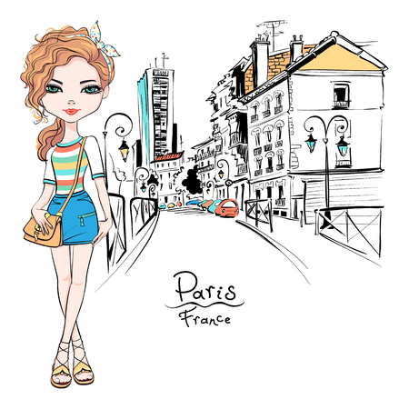 Illustration for Vector beautiful fashion hipster girl in summer clothes, t-shirt and skirt with bag on Paris street, France - Royalty Free Image