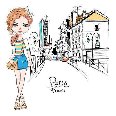 Ilustración de Vector beautiful fashion hipster girl in summer clothes, t-shirt and skirt with bag on Paris street, France - Imagen libre de derechos
