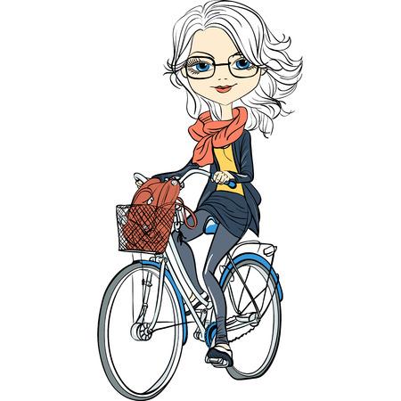 Ilustración de Cute beautiful fashionable girl riding a bike - Imagen libre de derechos