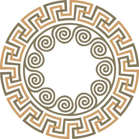 Illustration pour Vector traditional vintage round Greek ornament Meander - image libre de droit