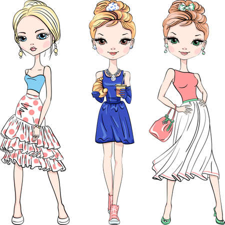 Illustration for Vector set of three beautiful fashion girls top model in summer dresses - Royalty Free Image