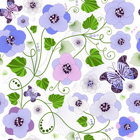 Seamless floral pattern with flowers and butterflies (vector)