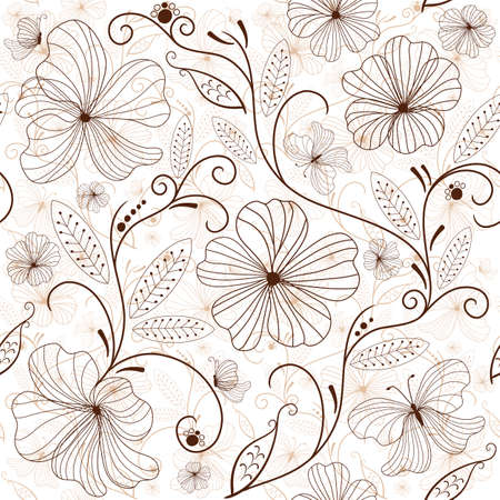 Seamless white floral pattern with brown flowers
