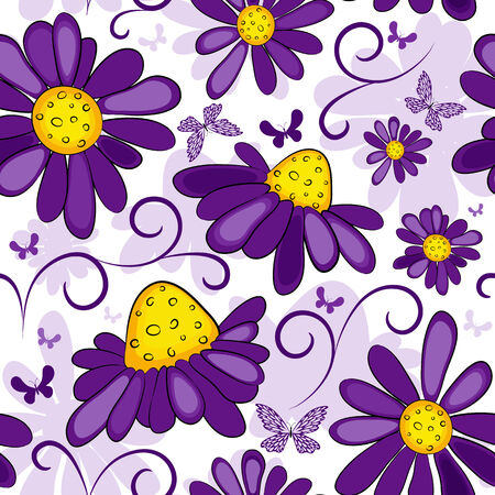 Floral seamless white-violet pattern with flowers and butterflies
