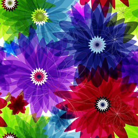 Seamless floral vivid pattern with colorful flowers (vector eps 10)