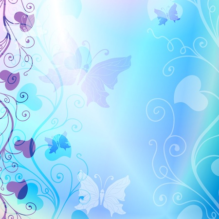 Gentle blue spring floral frame with translucent butterflies  vector EPS 10