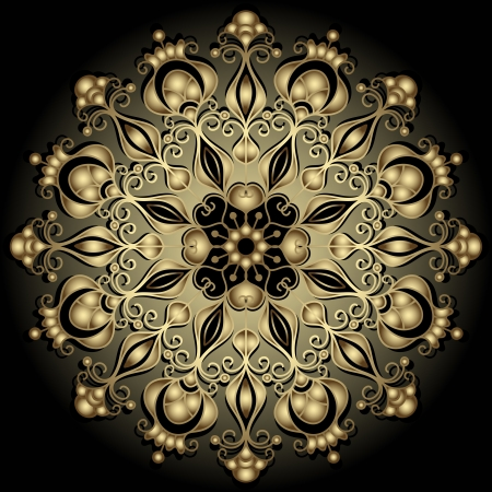 Decorative gold round vintage frame on black (vector)