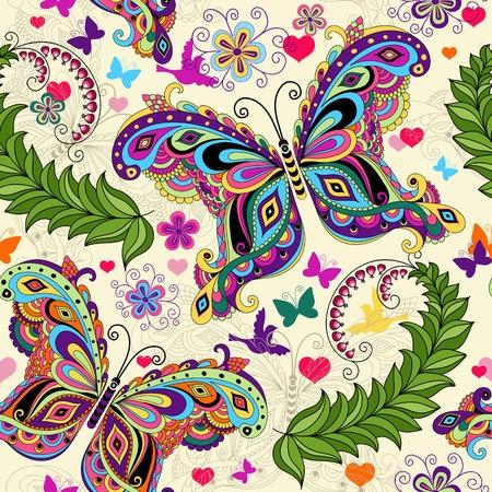 Ilustración de Seamless valentine pattern with colorful vintage butterflies and flowers and hearts - Imagen libre de derechos