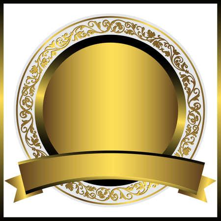 Illustration pour Decorative gold round plate with gold ribbon - image libre de droit