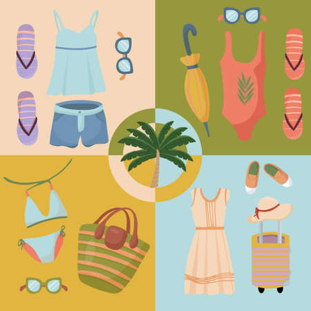 Illustration for Summer clothing sets. Beach Accessories. Fashionable outfit for tourism. Vector items and things for vacation and travel. Flat design style on four multicolor banners. - Royalty Free Image