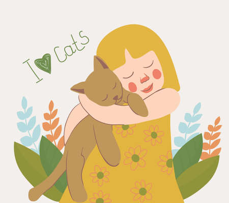 Illustration pour A cute little girl holding a cat in her arms. Portrait of a happy owner with his beloved pet. kindness and love for animals. vector flat. on the background of natural elements, grass and leaves. - image libre de droit