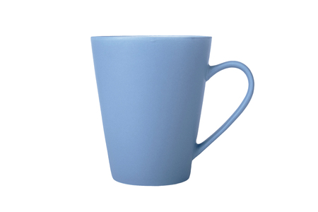 Photo pour Blue cup in side view isolated on white background. - image libre de droit