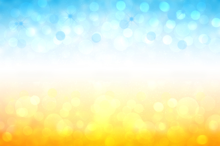 Foto de Abstract bright gradient motion spring or summer landscape texture background with natural gold yellow bokeh lights and blue bright sunny sky. Beautiful backdrop with white frame for design. - Imagen libre de derechos