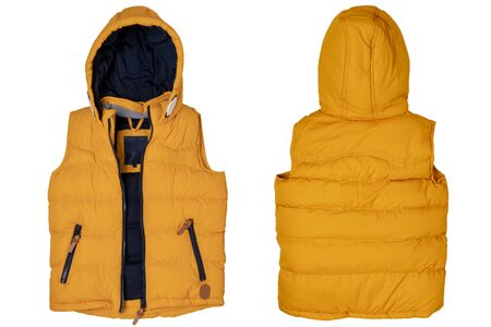 Foto de Vest isolated. Close-up of a stylish cozy warm yellow down vest with hood isolated on a white background. Childrens autum and winter clothes. - Imagen libre de derechos