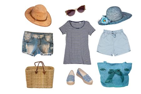 Photo pour Collage of female summer beach clothes and accessories consist hats, shorts, beach shoes, bags, shirt and short jeans isolated on a white background. Ladies summer fashion set. - image libre de droit