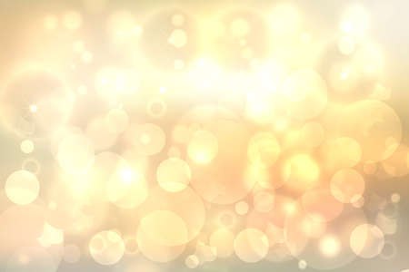 Foto de A festive abstract delicate Happy New Year or Christmas background texture with colorful gold yellow pink blurred bokeh lights and stars. Space for design. Card concept or advertising. - Imagen libre de derechos