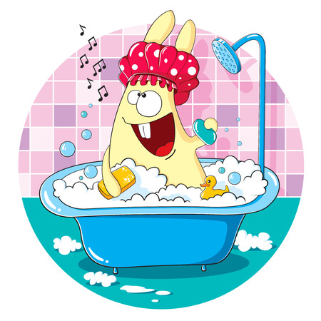Cartoon Bunny Taking A Bath And Sing Songs Royalty Free Vector Graphics