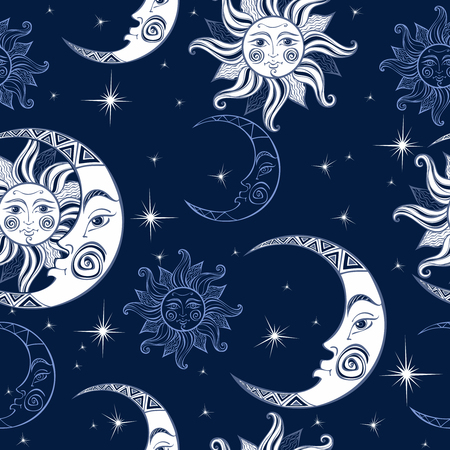 Illustration pour Seamless pattern. Sun moon and stars. Space background. Night sky. A magical fairy backdrop. Vector. - image libre de droit