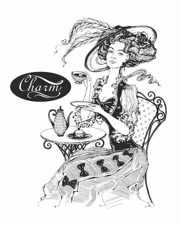 Illustration pour The girl with the hat and the vintage dress. Lady drinks tea. Beautiful woman. Charm. Inscription. Graphics. Black-white.  Vector - image libre de droit