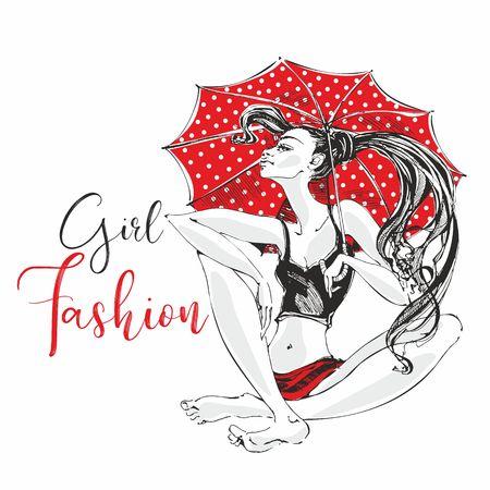 Fashion girl. Red umbrella with polka dots. Woman model posing. Girl barefoot. Vector.