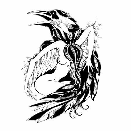 Illustration pour Raven and angel.Tattoo Vector illustration - image libre de droit