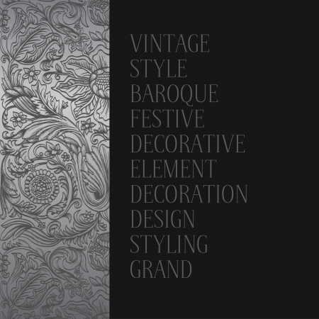 Vintage silver background baroque