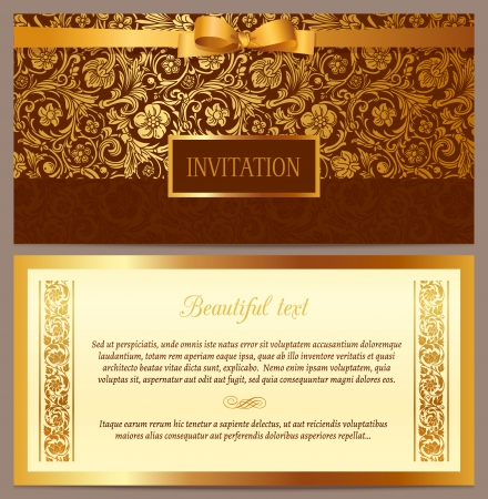 Set of vector vintage luxury horizontal invitation with a beautiful baroque pattern and border  Brown and gold のイラスト素材