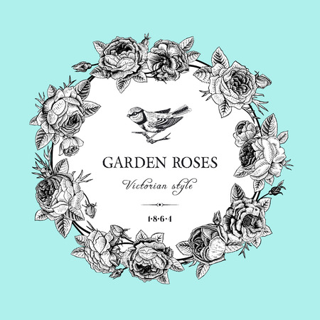 Illustration pour Vintage vector card with round black and white frame of garden roses on mint background  Victorian style  - image libre de droit