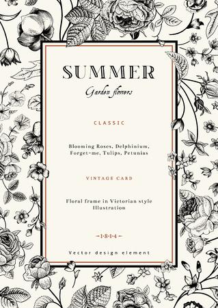 Summer vertical vector vintage elegant card with black garden flowers  Roses, forget-me, delphinium on beige background with golden frame  Design template