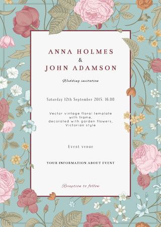 Illustration pour Vector vertical vintage floral wedding invitation card with frame of colorful garden flowers on mint background  - image libre de droit