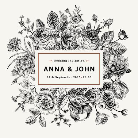 Illustration pour Vintage elegant wedding invitation with summer flowers. Black and white vector illustration. - image libre de droit