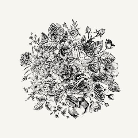 Illustration pour Vintage floral vector bouquet with Black & White summer garden flowers. - image libre de droit