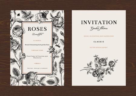 Foto de Floral vector vertical vintage invitation. Set. Black and white Garden Roses. - Imagen libre de derechos