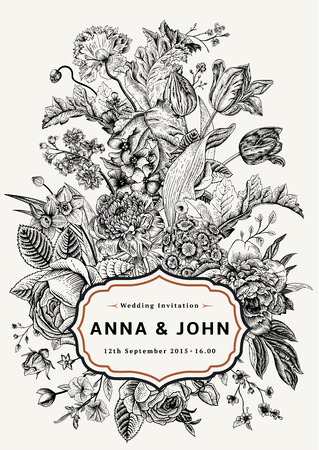 Illustrazione per Vertical wedding invitation. Vintage card with garden flowers. Black and white vector with a gold frame. - Immagini Royalty Free