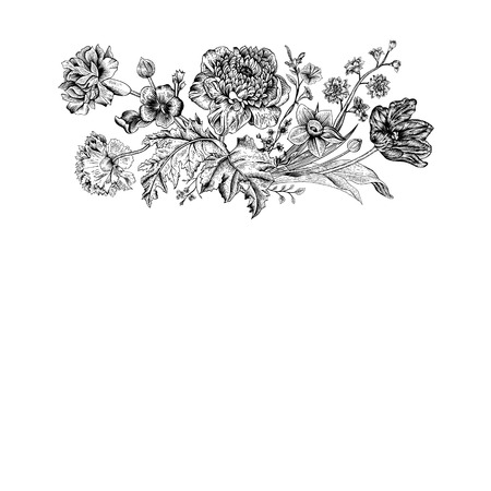 Floral spring card. Bouquet of tulip, poppy and anemone. Vintage vector illustration. Classic. Black and white.