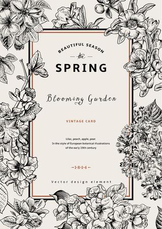Foto de Vintage vector vertical card spring. Black and white blooming branches of lilac, peach, pear, pomegranate, apple tree. - Imagen libre de derechos