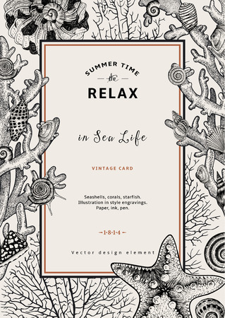 Ilustración de Relax. Summer rest. Vintage card. Frame with seashells, coral and starfish. Black and white vector illustration in style engravings. - Imagen libre de derechos