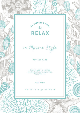 Illustration pour Relax. Summer rest. Vintage card. Frame with seashells, coral and starfish. Vector illustration in style engravings. - image libre de droit