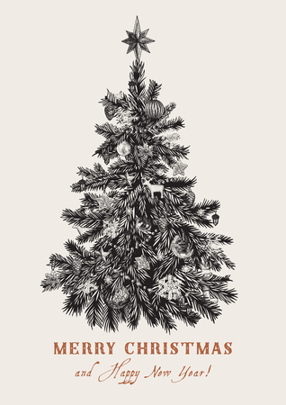 Christmas tree. Vector vintage illustration. Black and white. Merry Christmas And Happy New Year. Greeting card.