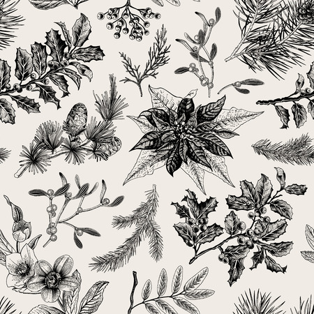 Seamless vintage pattern. Christmas Botanical background.