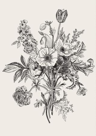 Illustration for Victorian bouquet. Spring Flowers. Poppy, anemones, tulips, delphinium. Vintage botanical illustration. design element. Black and white. Engraving - Royalty Free Image
