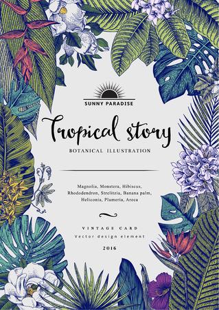Illustration for vintage card Botanical illustration. Tropical flowers and leaves. - Royalty Free Image